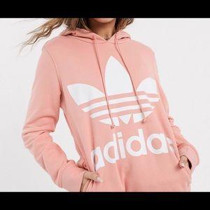 Adidas Large Trefoil Logo Hoodie in Pink